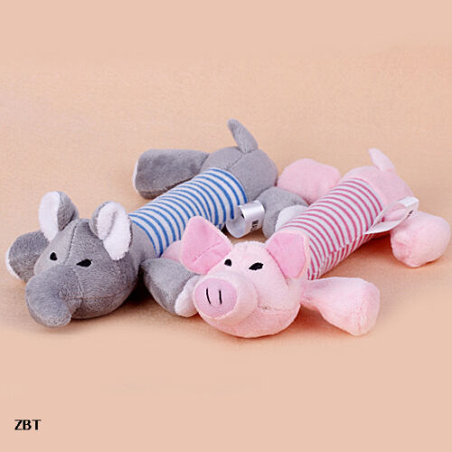 2pcs Beauty Pet Dogs Puppy Squeaky Chew Plush Toys Pink Pig + Grey Elephant ZBT in Pet Supplies, Dog Supplies, Toys & Chews | eBay