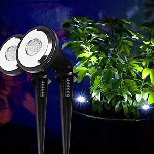 2x 2er set led solar strahler led solar gartenbeleuchtung light lights4fun ebay. Black Bedroom Furniture Sets. Home Design Ideas