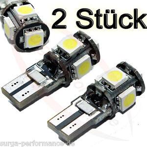 2x-5-LED-SMD-5050-Standlicht-xenon-weiss-Can-Bus-W5W-T10-Glassockel-TOP-PREIS-NEU