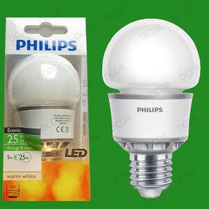2x-5W-Philips-Kugel-Gluehbirnen-LED-Energie-Sparend-GLS-Schraubfassung-E27-ES