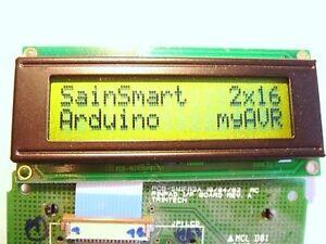 2x-LCD-Modul-Display-SainSmart-Arduino-myAVR-C-Control-2x16-Beleuchtung-gruengelb