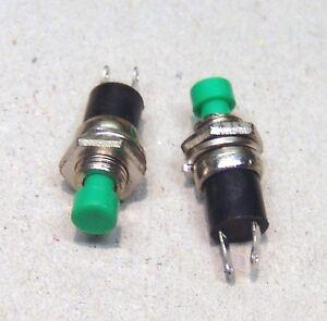 2x-Miniatur-Drucktaster-1-polig-Schliesser-gruen-NEU