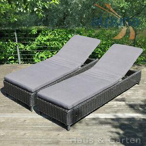 2x outdoor rattan sonnenliege 9mm rundfaser polyrattan 2er set ebay. Black Bedroom Furniture Sets. Home Design Ideas