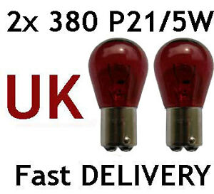 2x-P21-5W-BAY15d-380-RED-Stop-Brake-Tail-Car-Bulbs