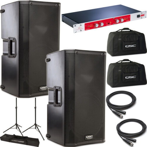 "2x QSC K12 Powered 12"" Speakers K-12 BBE 882i Processor Totes Stands Cables in Musical Instruments & Gear, Pro Audio Equipment, Speakers & Monitors 