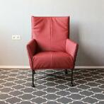2x Montis Charly fauteuil donkerrood leder - zwart onderstel