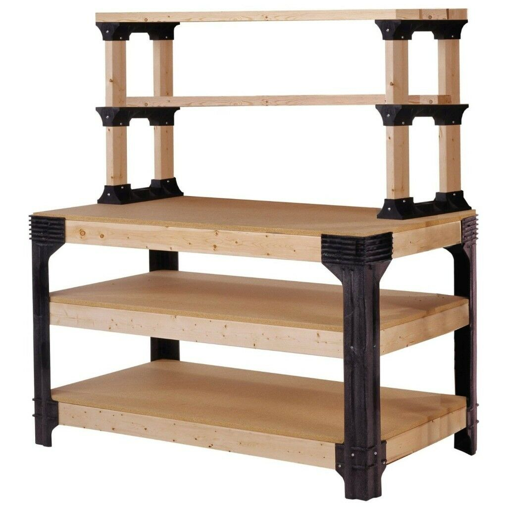 2x4 basics custom workbench storage shelf system garage office Bench with shelf