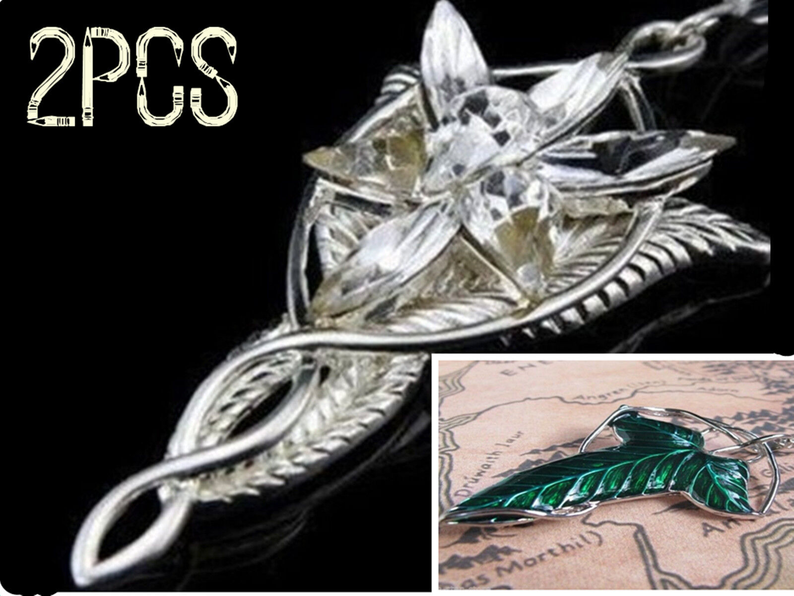 2xset lotr lord of the rings elven leaf brooch arwen