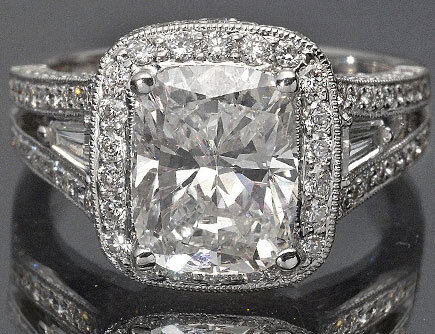 3.15 Ct Cushion Cut Certified Diamond Vintage Engagement Ring 14K White Gold in Jewelry & Watches, Engagement & Wedding, Engagement Rings | eBay