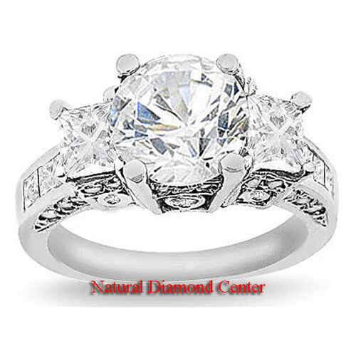 3.22 Carat Round Brilliant Certified Diamond 3Three Stone Engagement Ring 14K in Jewelry & Watches, Engagement & Wedding, Engagement Rings | eBay