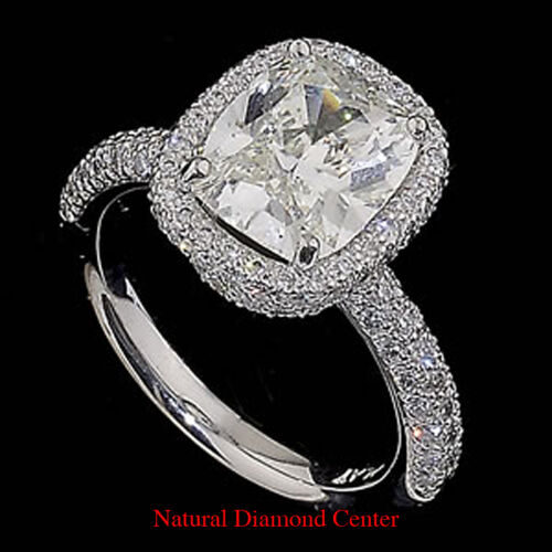 3.52 Carat Cushion Modified Certified Diamond 14k White Ring Gold Center 2.02 Ct in Jewelry & Watches, Engagement & Wedding, Engagement Rings | eBay