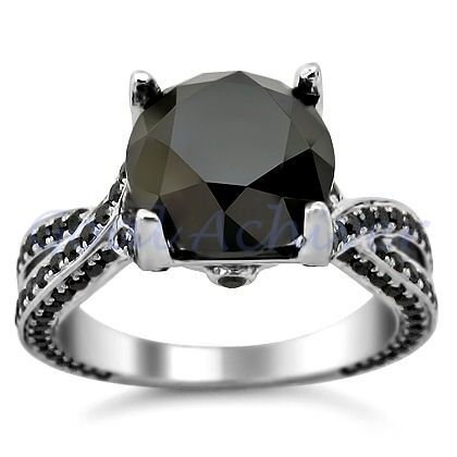3.75CT BLACK ROUND CUT DIAMOND ENGAGEMENT RING 14K GOLD DGL CERTIFIED EW EHS in Jewelry & Watches, Engagement & Wedding, Engagement Rings | eBay