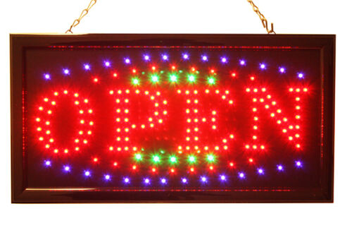 3 Color High Visible LED Neon Light Business Motion Open Sign Chain Switch in Business & Industrial, Retail & Services, Business Signs | eBay