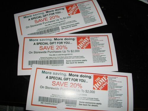 3 HOME DEPOT COUPONS EACH SAVES 20% USE AT ACE LOWES MENARDS SAVE UPTO 1200 in Home & Garden, Food & Beverages, Food Coupons | eBay