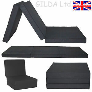 3 Piece Black Fold Out Chair Bed Guest Stool Mattress