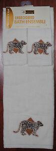 White Bath Towel Set Leopard Jaguar Wild Cat Safari Jungle New | eBay