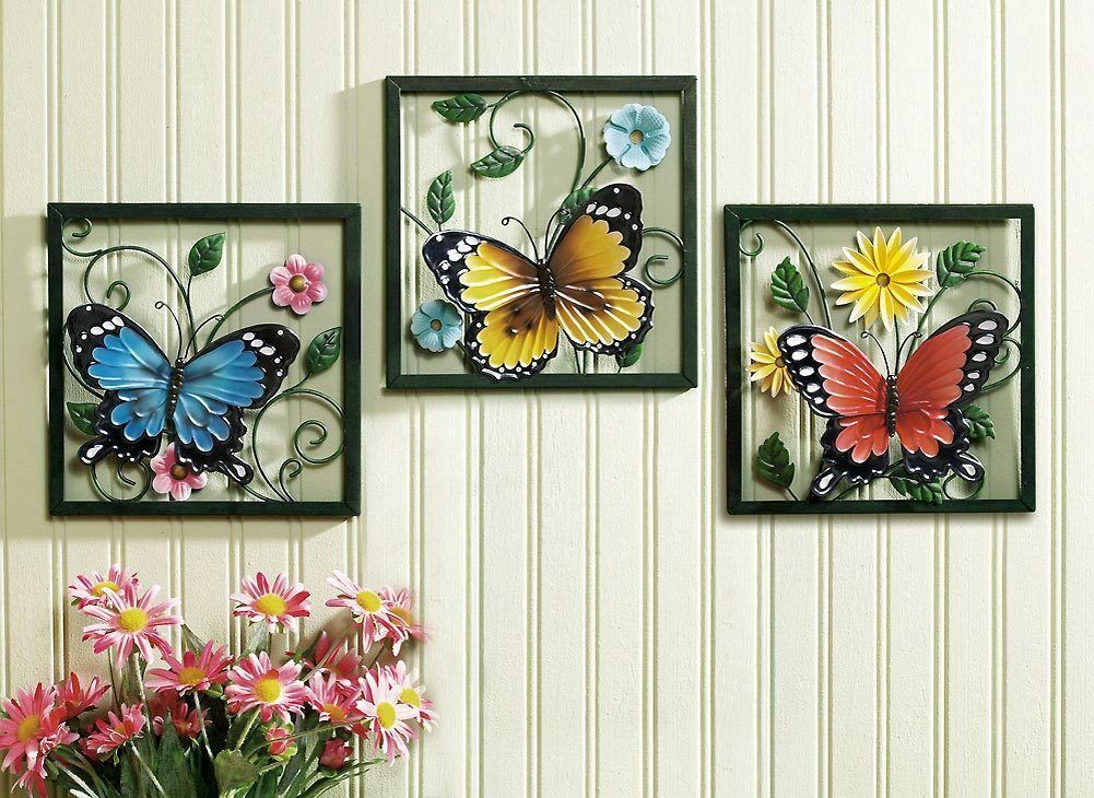3 pc framed crafted 3d metal butterfly in blossom flower for 3d flowers for wall decoration
