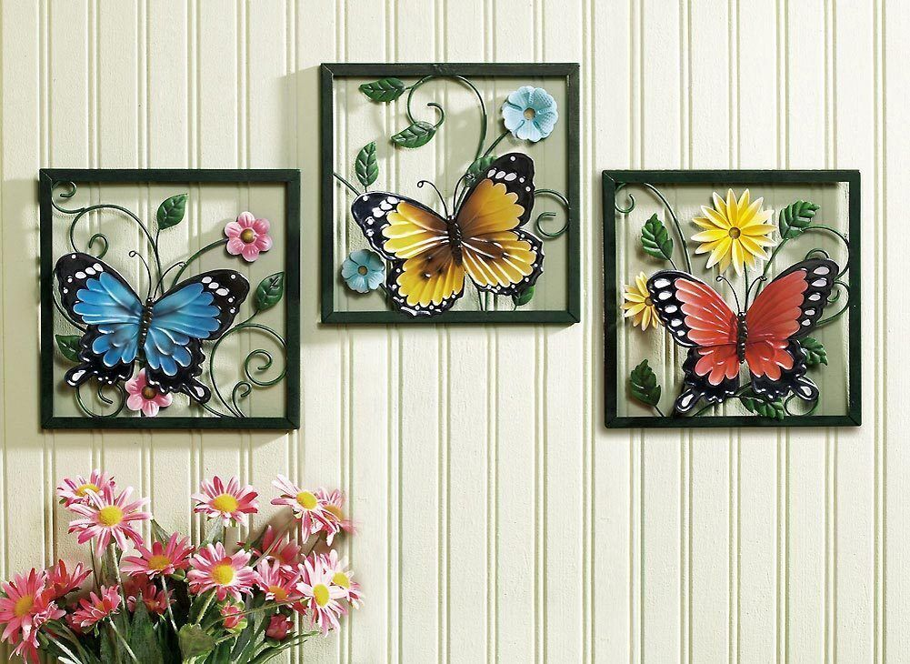 Crafted 3D Metal Butterfly In Blossom Flower Set Wall Art Decor EBay