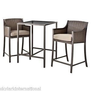 3 Piece Outdoor Wicker Patio Bar Height Bistro Set Chairs W Table And Cushion