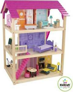 3 Story 4 Sided Doll House Mansion W 45pc Furniture Fits Barbie Wood Wooden Ebay