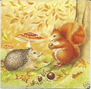 3 servietten napkins herbst igel eichh rnchen fliegenpilz wald 16 ebay. Black Bedroom Furniture Sets. Home Design Ideas
