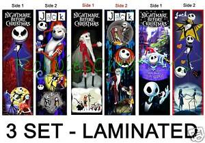 3 THE NIGHTMARE BEFORE CHRISTMAS BOOKMARKS Jack poster in Books, Accessories, Bookmarks | eBay
