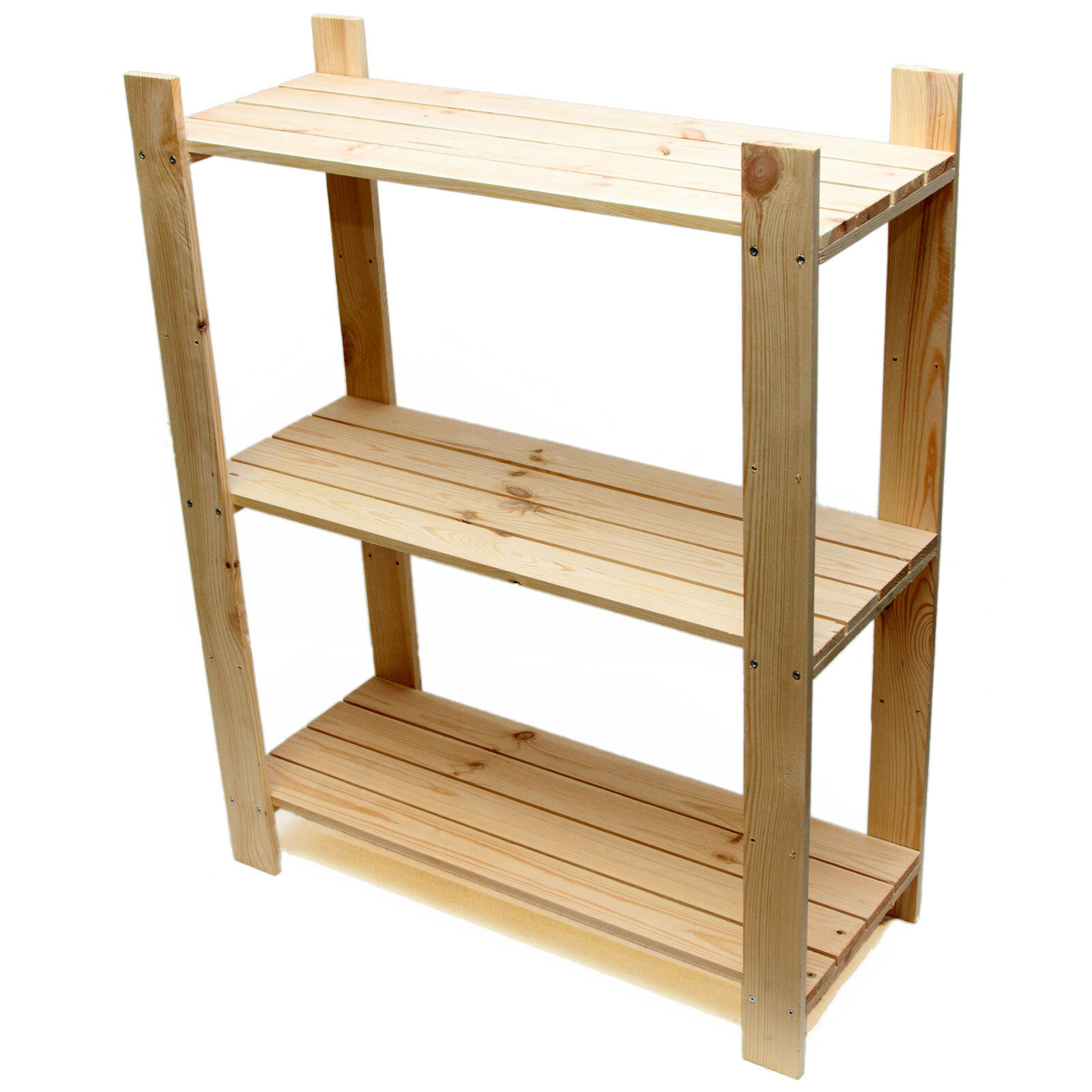 Shelf Unit - Pine Shelves with 3 Wooden Shelves - Freestanding Rack