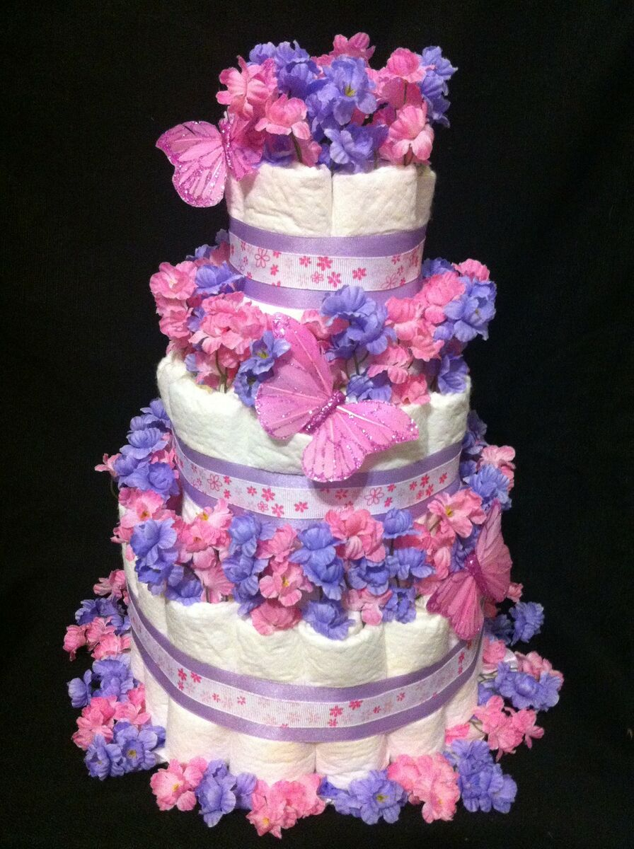 Tier pink lilac butterfly diaper cake baby shower for Baby shower diaper decoration
