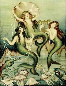 3-VICTORIAN-PEARL-MERMAIDS-FAIRY-FANTASY-CANVAS-ART