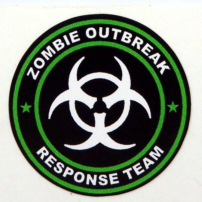 3 Zombie Outbreak Response Team Tool Box Hard Hat Helmet Sticker Green H125