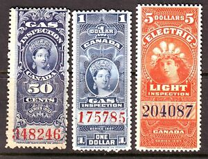 3 different MNH Canada Q. Victoria Revenues (Lot #RR6) in Stamps, Canada, Mint | eBay