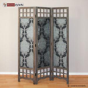 3 fach paravent raumteiler holz trennwand braun grau muster stoff spanische wand ebay. Black Bedroom Furniture Sets. Home Design Ideas
