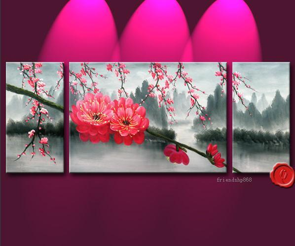 Pieces Large Modern Abstract Art Oil Painting Wall Decor Flower No
