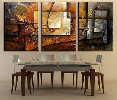 3 pieces together Large Modern Abstract Huge Art Oil Painting Canvas in Art, Art from Dealers & Resellers, Paintings | eBay