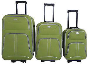 3-tlg-Reisekofferset-Kofferset-Trolley-Trolly-Reiseset-Koffer-Stoff-Hellgruen