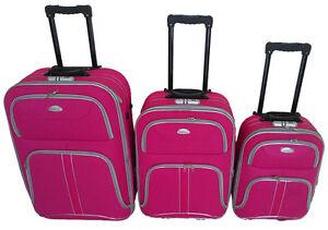 3-tlg-Reisekofferset-Kofferset-Trolley-Trolly-Reiseset-Koffer-Stoff-pink