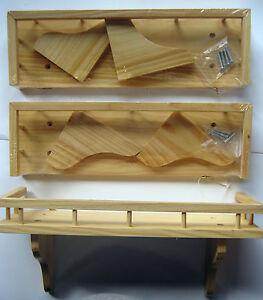 small wooden shelf shelves Salt Pepper Spices kitchen wall rack ...