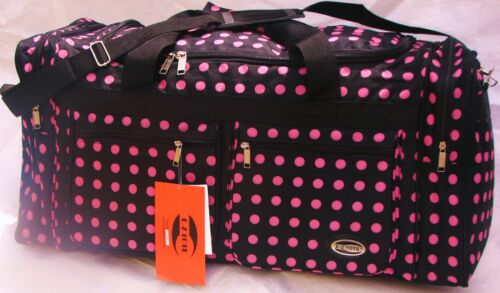 "30"" 50LB. CAP. BLACK DUFFLE BAG W/ PINK POLKA DOTS/GYM BAG / LUGGAGE / SUITCASE in Travel, Luggage 