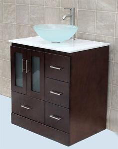 vanity cabine white tech stone quartz glass vessel sink amp faucet mo