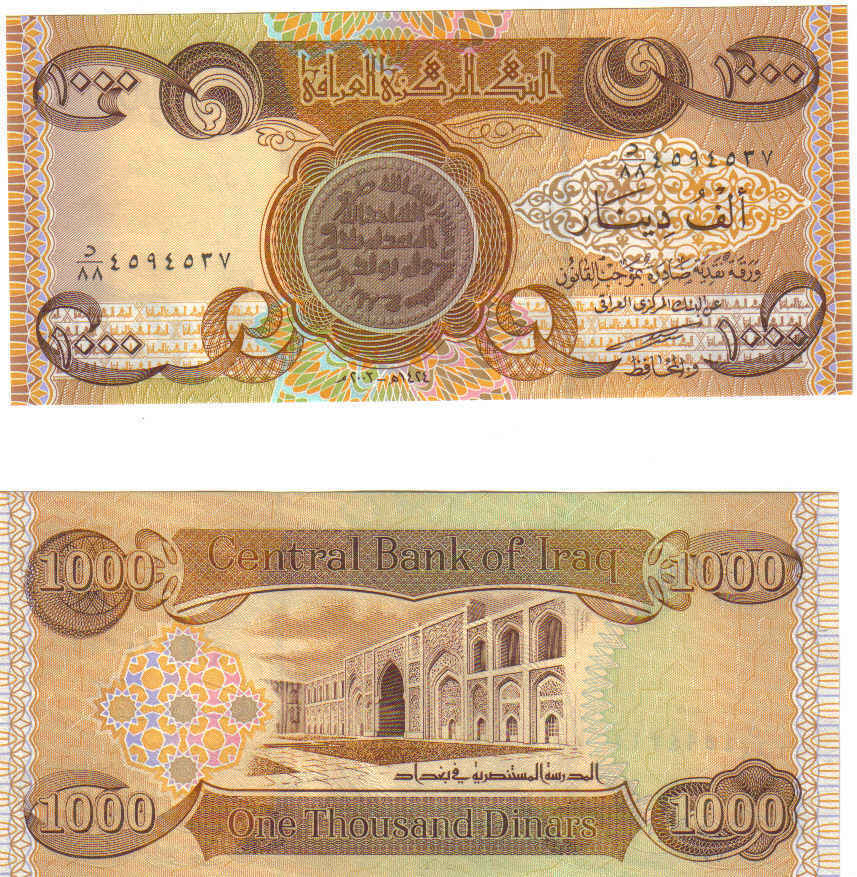 AUTHENTIC MINT UN-CIRCULATED 1000 DINAR BANKNOTE
