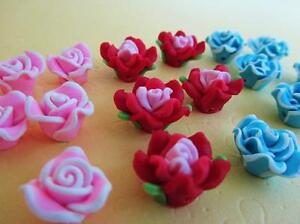 30 Mix Red,Pink,Blue 4D Fimo Clay Rose Flower Bead/Resin/Beading/Craft B111-B