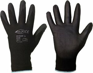 30-Paar-Mechanikerhandschuhe-Arbeitshandschuhe-Montagehandschuhe-Pu-schwarz
