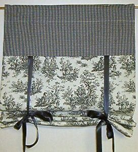 X Tie Up Shade Curtain Jamestown Toile Black Wht Ebay