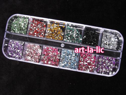 3000pcs 1.5mm ROUND RHINSTONES 12 Colors Hard Case NAIL ART Tips Acrylic UV Gel