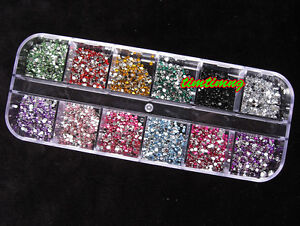 3000pcs-1-5mm-ROUND-RHINSTONES-12-Colors-Hard-Case-NAIL-ART-Tips-Acrylic-UV-Gel