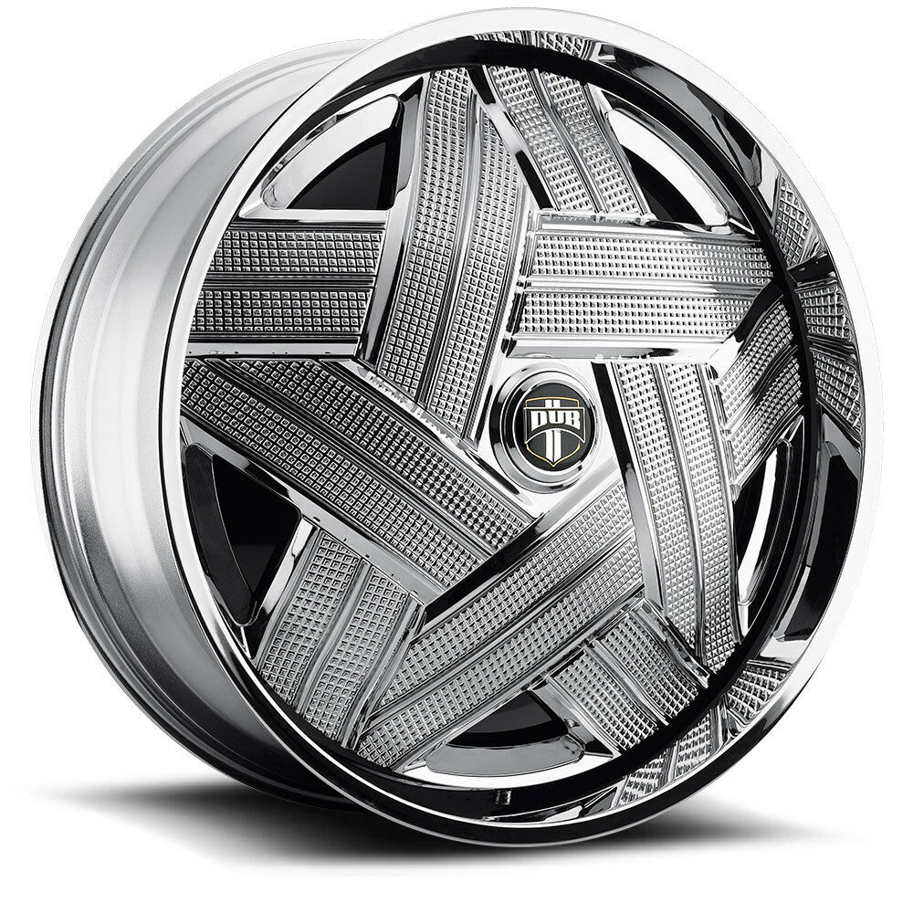 32 Dub Spin Crown Wheel Set Chrome Spinner 32x10 rwd 5 6 Lug Rims