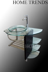 Bathroom Vanity On 32 Inch Modern Bathroom Glass Bowl Vessel Sink Wood