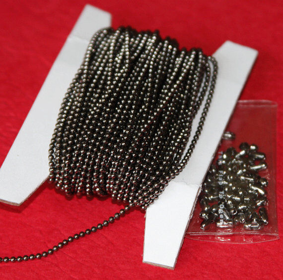 32 ft of Gunmetal plated brass 1.5mm ball chain with connector
