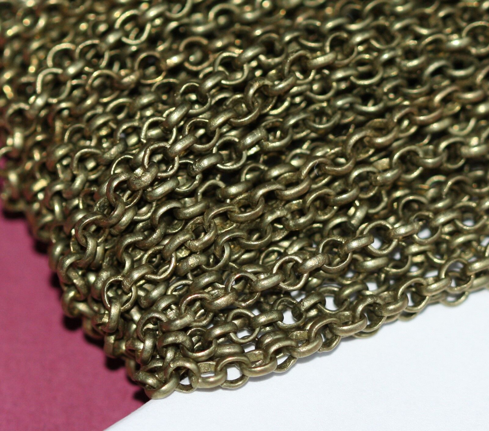 5ft of brass coated iron chain rollo chain 3.1mm available in 6 colors