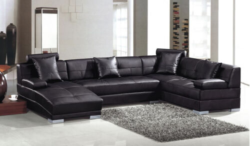 3334 ESPRESSO ULTRA MODERN SECTIONAL SOFA CONTEMPORARY STYLE in Home & Garden, Furniture, Sofas, Loveseats & Chaises | eBay